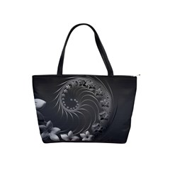 Dark Gray Abstract Flowers Large Shoulder Bag
