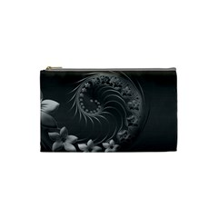Dark Gray Abstract Flowers Cosmetic Bag (Small)