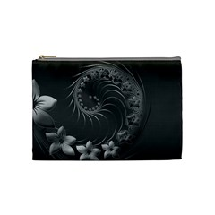 Dark Gray Abstract Flowers Cosmetic Bag (Medium)
