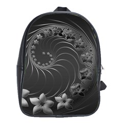 Dark Gray Abstract Flowers School Bag (large)