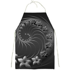 Dark Gray Abstract Flowers Apron