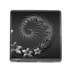 Dark Gray Abstract Flowers Memory Card Reader with Storage (Square)