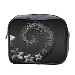 Dark Gray Abstract Flowers Mini Travel Toiletry Bag (Two Sides)