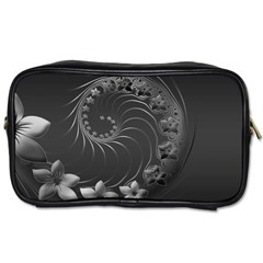 Dark Gray Abstract Flowers Travel Toiletry Bag (one Side)