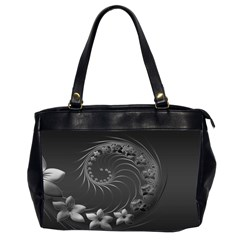 Dark Gray Abstract Flowers Oversize Office Handbag (two Sides)