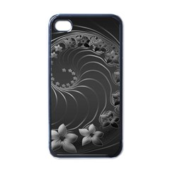 Dark Gray Abstract Flowers Apple iPhone 4 Case (Black)