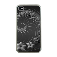 Dark Gray Abstract Flowers Apple Iphone 4 Case (clear)