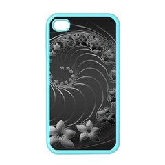 Dark Gray Abstract Flowers Apple Iphone 4 Case (color)