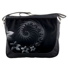Dark Gray Abstract Flowers Messenger Bag
