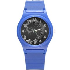 Dark Gray Abstract Flowers Plastic Sport Watch (Small)