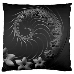 Dark Gray Abstract Flowers Large Cushion Case (One Side)