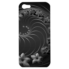 Dark Gray Abstract Flowers Apple iPhone 5 Hardshell Case