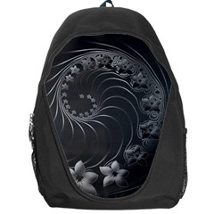 Dark Gray Abstract Flowers Backpack Bag