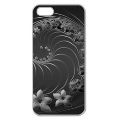 Dark Gray Abstract Flowers Apple Seamless Iphone 5 Case (clear)