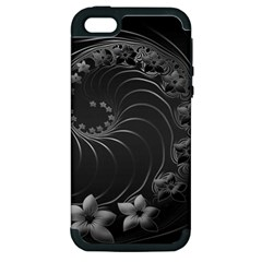 Dark Gray Abstract Flowers Apple Iphone 5 Hardshell Case (pc+silicone)