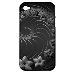 Dark Gray Abstract Flowers Apple Iphone 4/4s Hardshell Case (pc+silicone)