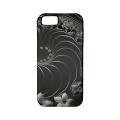 Dark Gray Abstract Flowers Apple iPhone 5 Classic Hardshell Case (PC+Silicone)