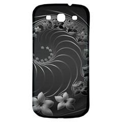 Dark Gray Abstract Flowers Samsung Galaxy S3 S III Classic Hardshell Back Case