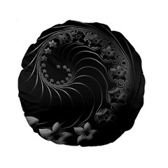 Dark Gray Abstract Flowers 15  Premium Round Cushion