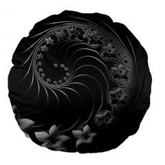 Dark Gray Abstract Flowers 18  Premium Round Cushion