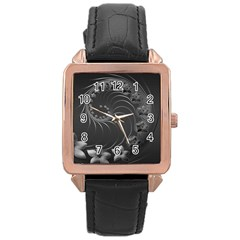 Dark Gray Abstract Flowers Rose Gold Leather Watch