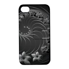 Dark Gray Abstract Flowers Apple iPhone 4/4S Hardshell Case with Stand