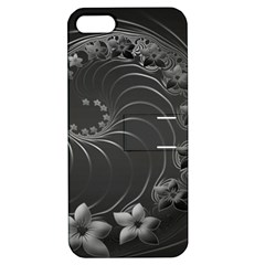 Dark Gray Abstract Flowers Apple iPhone 5 Hardshell Case with Stand
