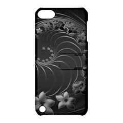 Dark Gray Abstract Flowers Apple Ipod Touch 5 Hardshell Case With Stand