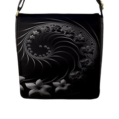 Dark Gray Abstract Flowers Flap Closure Messenger Bag (Large)