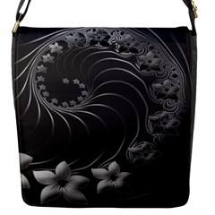 Dark Gray Abstract Flowers Flap closure messenger bag (Small)