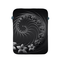 Dark Gray Abstract Flowers Apple iPad 2/3/4 Protective Soft Case