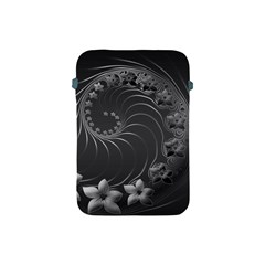 Dark Gray Abstract Flowers Apple iPad Mini Protective Soft Case