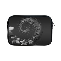 Dark Gray Abstract Flowers Apple iPad Mini Zipper Case