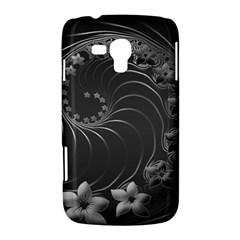 Dark Gray Abstract Flowers Samsung Galaxy Duos I8262 Hardshell Case