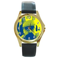 600 By 600 Image Round Metal Watch (Gold Rim)