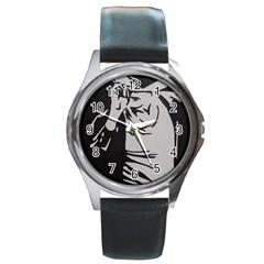 Micheal Jackson Round Metal Watch (Silver Rim)