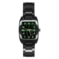 Lifes A Glitch Men s Stainless Steel Barrel Analog Watch