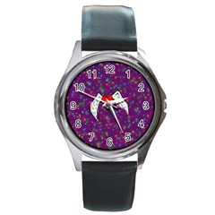 Your Heart Has Wings so Fly - Updated Round Metal Watch (Silver Rim)