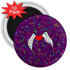 Your Heart Has Wings so Fly - Updated 3  Button Magnet (10 pack)