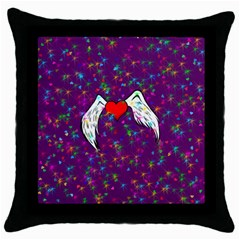 Your Heart Has Wings so Fly - Updated Black Throw Pillow Case
