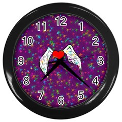 Your Heart Has Wings so Fly - Updated Wall Clock (Black)