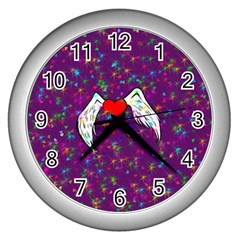 Your Heart Has Wings So Fly   Updated Wall Clock (silver)