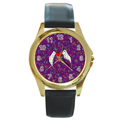 Your Heart Has Wings so Fly - Updated Round Metal Watch (Gold Rim)