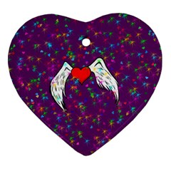 Your Heart Has Wings So Fly   Updated Heart Ornament (two Sides)