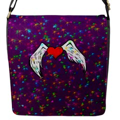Your Heart Has Wings so Fly - Updated Flap closure messenger bag (Small)