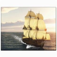 French Warship Canvas 11  x 14  9 (Unframed)