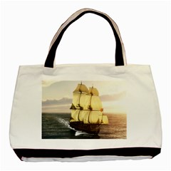 French Warship Twin Sided Black Tote Bag