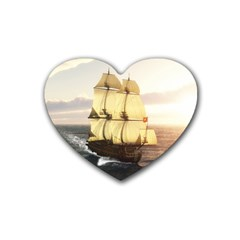 French Warship Drink Coasters 4 Pack (Heart)