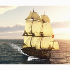 French Warship Canvas 20  X 24  (unframed)