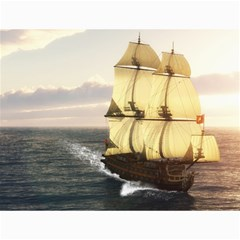French Warship Canvas 18  X 24  (unframed)